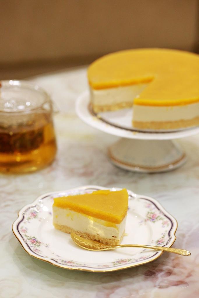 Mango black tea infused cheese cake no baked